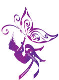 Fibromyalgia awareness. Purple silhouette of a falling woman with purple awareness ribbon and butterfly, symbol of fibromyalgia, chronic pain and chronic fatigue Stock Photo
