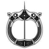 Fibula фибулы Средневековый Викинг, Celtic, Germanic традиционное украшение, фермуар для плаща иллюстрация вектора