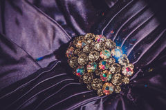 Fibula con le pietre brillanti Fotografie Stock Libere da Diritti