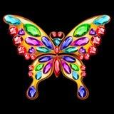 Fibula dell'oro sotto forma di una farfalla con le gemme Fotografie Stock Libere da Diritti