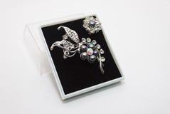 Fibula isolata della perla Fotografia Stock