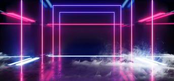 A ficção científica de Hall Grunge Glossy Concrete Futuristic da construção do fumo do fumo esvazia a sala moderna reflexiva ilustração do vetor