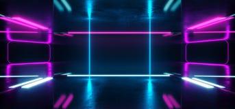 A ficção científica de Hall Grunge Glossy Concrete Futuristic da construção esvazia a sala moderna reflexiva escura da fase com i ilustração royalty free