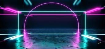 A ficção científica de Hall Grunge Glossy Concrete Futuristic da construção esvazia a sala moderna reflexiva escura da fase com i ilustração stock