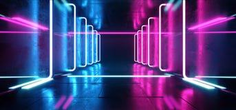 A ficção científica de Hall Grunge Glossy Concrete Futuristic da construção esvazia a sala moderna reflexiva escura da fase com i ilustração do vetor