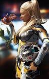 A ficção científica encontra a fantasia Fêmea loura na armadura futurista do espaço com o capacete, encontrando três dragões ilustração stock