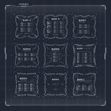 Ficção científica HUD Ui Square Frames foto de stock royalty free