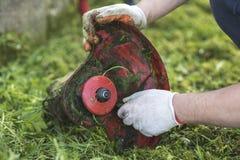 Ficelez le nettoyage de trimmer après coupure de l'herbe, déroulement des opérations photo stock