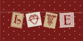 Ficelle de carte d'amour de Valentine Images libres de droits