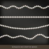 Ficelles sans couture d'ensemble de perles, éléments de décoration, vecteur illustration stock