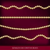 Ficelles sans couture d'ensemble de perles, éléments de décoration, vecteur illustration de vecteur