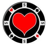 Ficha de póker con el corazón Foto de archivo