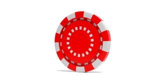 Ficha de póker del color rojo aislada en el fondo blanco ilustración 3D stock de ilustración