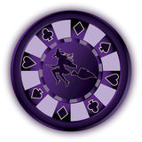 Ficha de póker y bruja de Halloween libre illustration