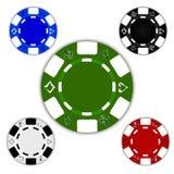 Fichas de póker coloreadas Imagen de archivo libre de regalías