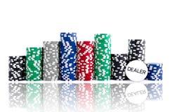 Fichas de póker con la reflexión Fotos de archivo libres de regalías