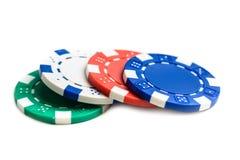 Fichas de póker del casino aisladas Fotografía de archivo libre de regalías