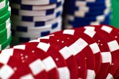 Fichas de póker del color Foto de archivo libre de regalías