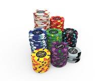 Fichas de póker fijadas Fotos de archivo libres de regalías