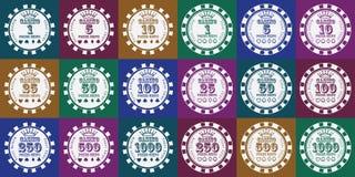 Fichas de póker fijadas blancas en color Imagen de archivo libre de regalías