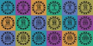 Fichas de póker fijadas negras en color Imagen de archivo