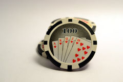 100 fichas de póker Imagen de archivo libre de regalías