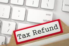 Fiche de sorte avec le remboursement d'impôt fiscal 3d Photographie stock