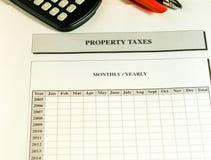 Fiche de travail annuelle mensuelle d'impôts fonciers image stock