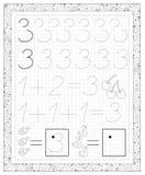 Fiche de travail noire et blanche sur un papier carré avec des exercices pour de petits enfants Paginez avec le numéro trois illustration de vecteur