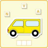 fiche de travail pour l'éducation Jeu éducatif de puzzle de mots pour des enfants Placez les lettres dans le bon ordre Images stock