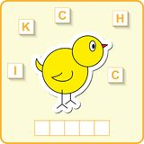 fiche de travail pour l'éducation Jeu éducatif de puzzle de mots pour des enfants Placez les lettres dans le bon ordre Images libres de droits