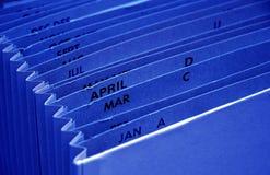 Fichero azul del presupuesto del impuesto Fotografía de archivo libre de regalías