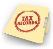 Fichero de documentos de la auditoría del sello de la carpeta de Manila de los expedientes de impuesto Imágenes de archivo libres de regalías