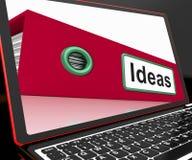 Fichero de las ideas en el ordenador portátil que muestra conceptos Imagenes de archivo