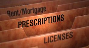 Fichero de las prescripciones en carpeta Fotos de archivo libres de regalías