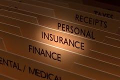 Fichero del seguro Imagen de archivo libre de regalías