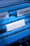 Fichero en blanco en cabinete de archivo Fotos de archivo libres de regalías