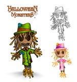 Fichero fantasmagórico del ejemplo EPS10 de los espantapájaros del monstruo de Halloween. Imágenes de archivo libres de regalías