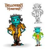 Fichero fantasmagórico del ejemplo EPS10 del zombi del monstruo de Halloween Fotos de archivo