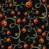 Fichero inconsútil del fondo EPS10 del modelo de las calabazas fantasmagóricas de Halloween Imagenes de archivo