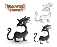 Fichero trasero fantasmagórico del ejemplo EPS10 del gato de los monstruos de Halloween Foto de archivo
