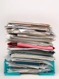 Ficheros de Inbox y documentos de papeles Foto de archivo libre de regalías