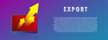 Ficheros de la exportación La flecha del ordenador Ilustración del vector plano gradiente stock de ilustración
