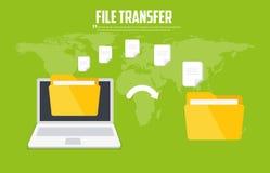 Ficheros de la transferencia Archivos de copia de seguridad Comunicación entre dos ordenadores Icono plano del vector stock de ilustración