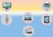 Ficheros de la transferencia entre los dispositivos Foto de archivo