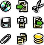 Ficheros del contorno del color de la etiqueta de plástico de los iconos del Web del vector Imagen de archivo