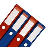 Ficheros rojos y azules aislados Fotos de archivo libres de regalías