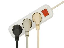 Fiches électriques connectées photo stock