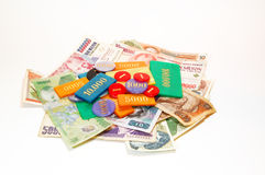 Fiches, chip. A heap of fiches from game with money Royalty Free Stock Image