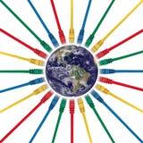 Fiches de réseau connectées à un hémisphère de l'ouest Image libre de droits